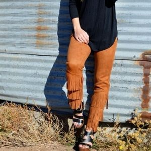 Crazy train brown fringe pant